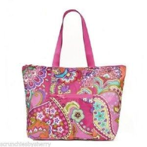 Vera Bradley Pink Swirls Collapsible Tote Bag